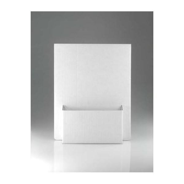Portadepliant o espositore da banco componibile realizzato in cartone bianco - Porta bandiere da tavolo ...