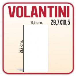 2500 Volantini A4 (metà) 10,5x29,7 cm.